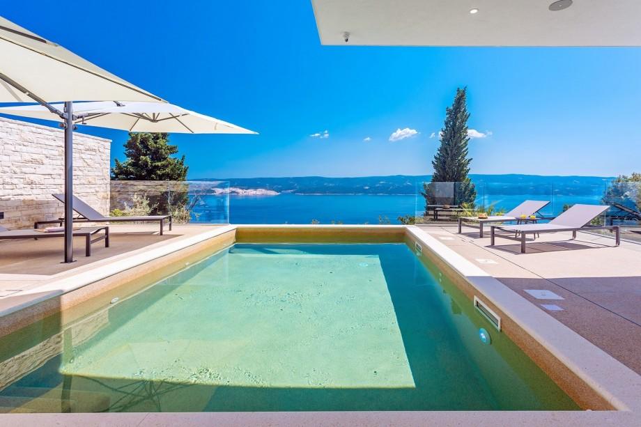 Extraordinary Villa Gušt with a heated pool, wellness, Media room